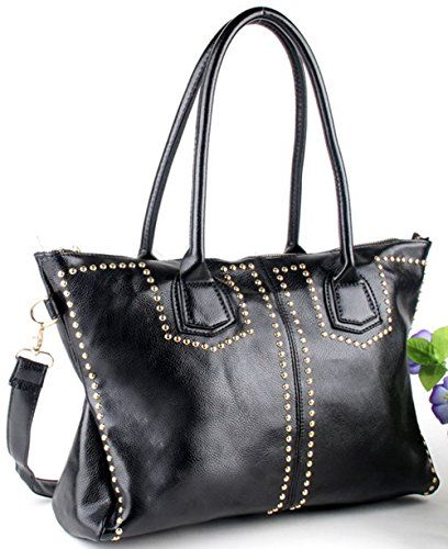 HONB Fashion Rivet Women Handbag Ladys Leather Handbags With Strap and BucklesPunk Style Handbags Black >>> Check out the image by visiting the link.
