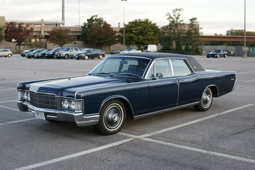 """1969 Lincoln Continental.Thanks to Chris for the submission; this pinner's comment:  in high school, 2 good looking Italian brothers had this car; all the girls swooned for a ride!!  Does anyone know the meaning of """"dragging the gut""""?"""