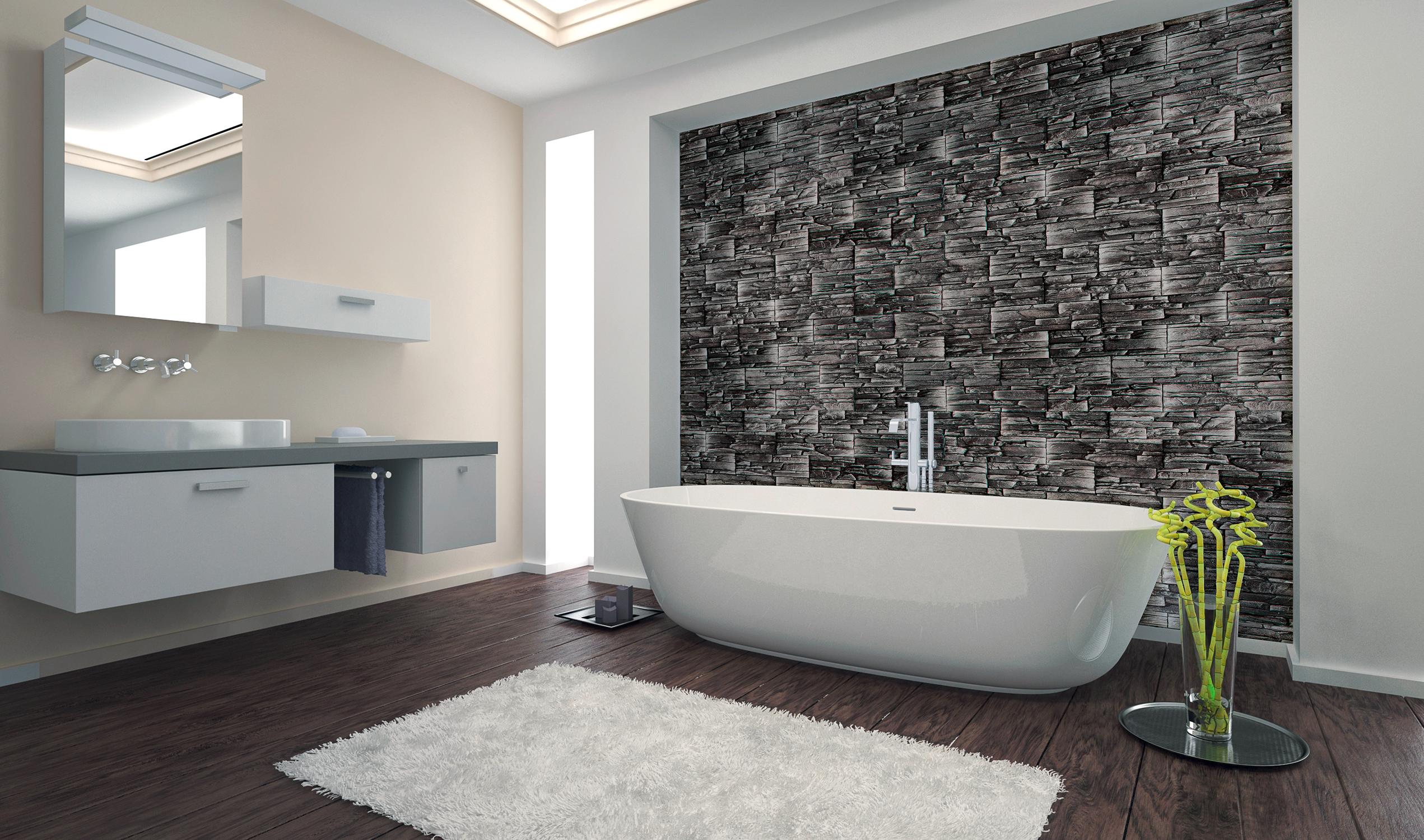 Die Wandverkleidung Sootblack Anthrazit Auf Leichtbetonbasis Vereint Die Naturliche Optik Einer Gemauerten Na Badezimmer Badezimmer Fussboden Wohnung Badezimmer