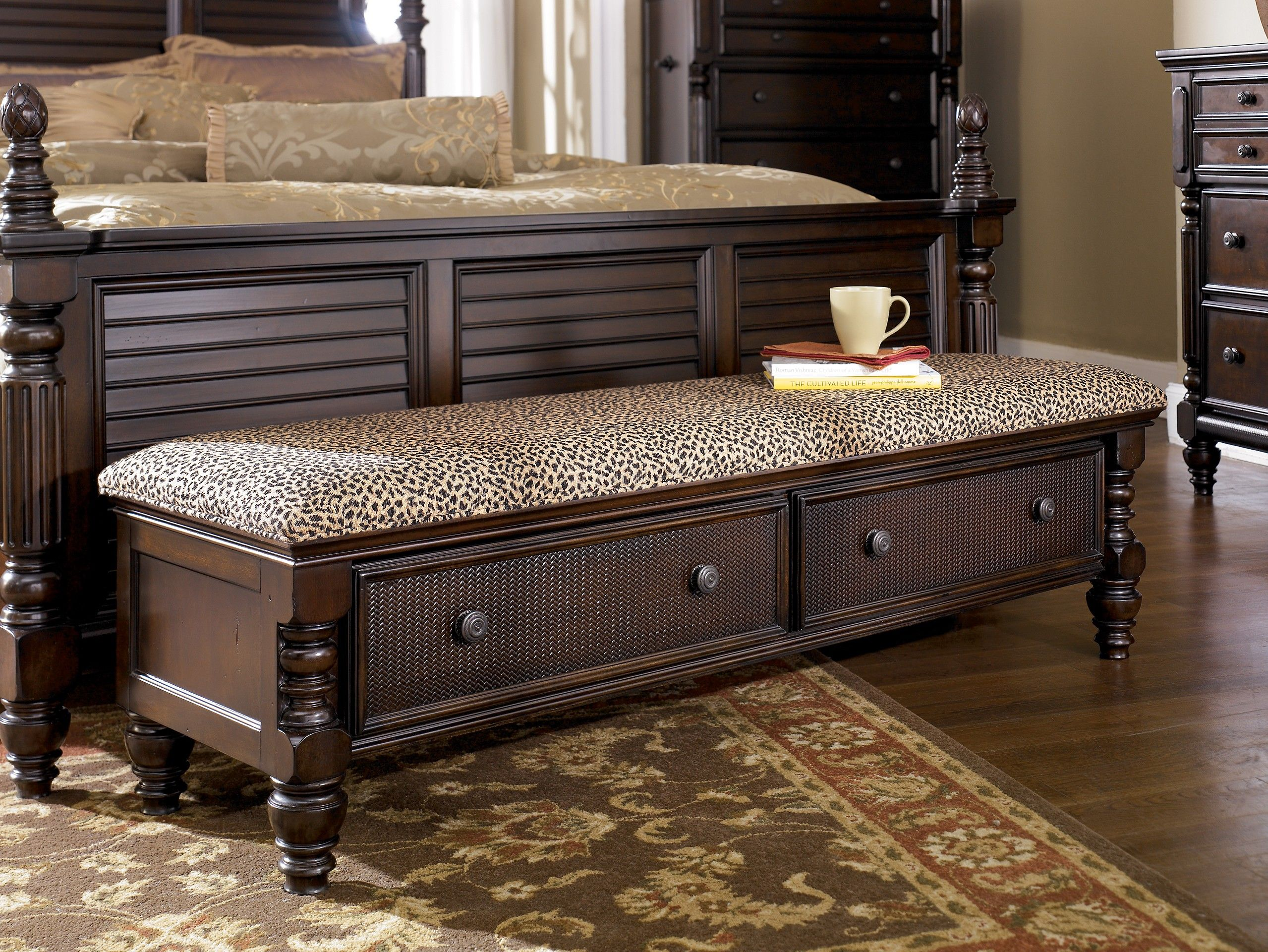 Ashley key town b668 09 millennium dark brown bedroom storage bench with its sophisticated - Key town bedroom set ...