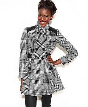 GUESS Coat, Double-Breasted Plaid A-Line - Juniors Coats - Macy's