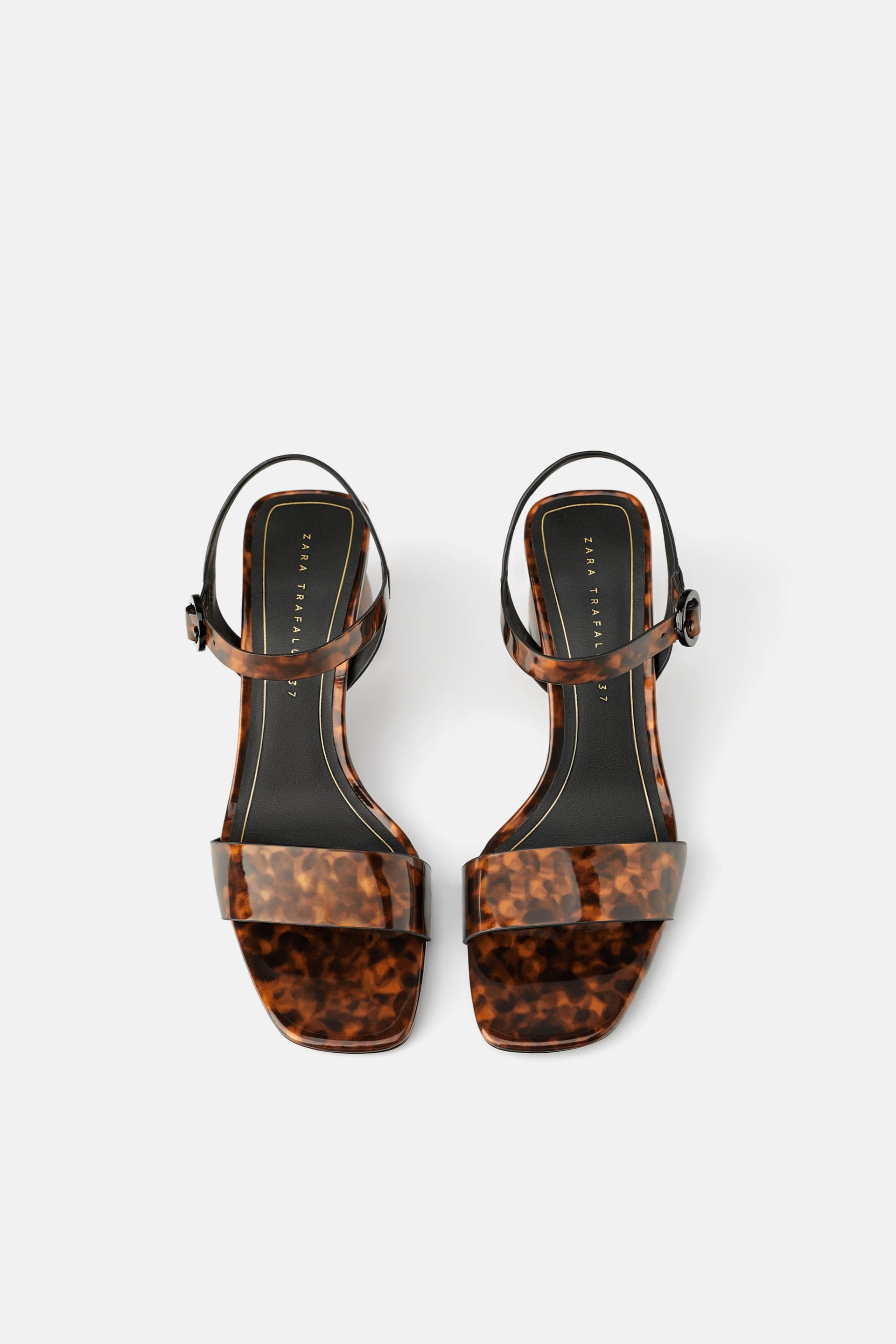 4a8b36186b54d Tortoiseshell wide heeled sandals in 2019 | Wear it | Fashion heels ...