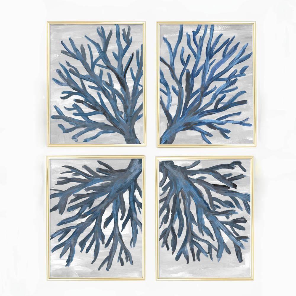 Navy blue coral sea fan art print set of coastal comfort