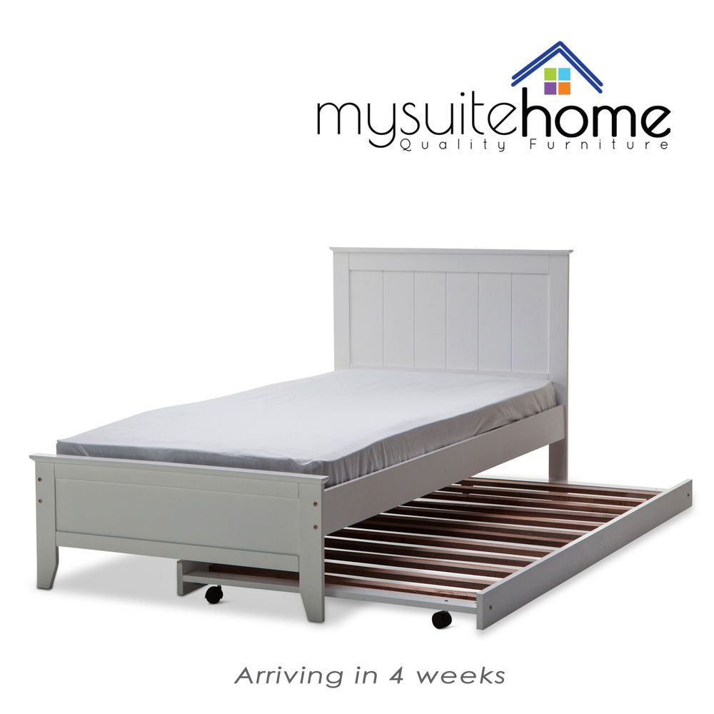 Dallas Solid Rubber Wood MDF White Single/King Single Bed Frame ...