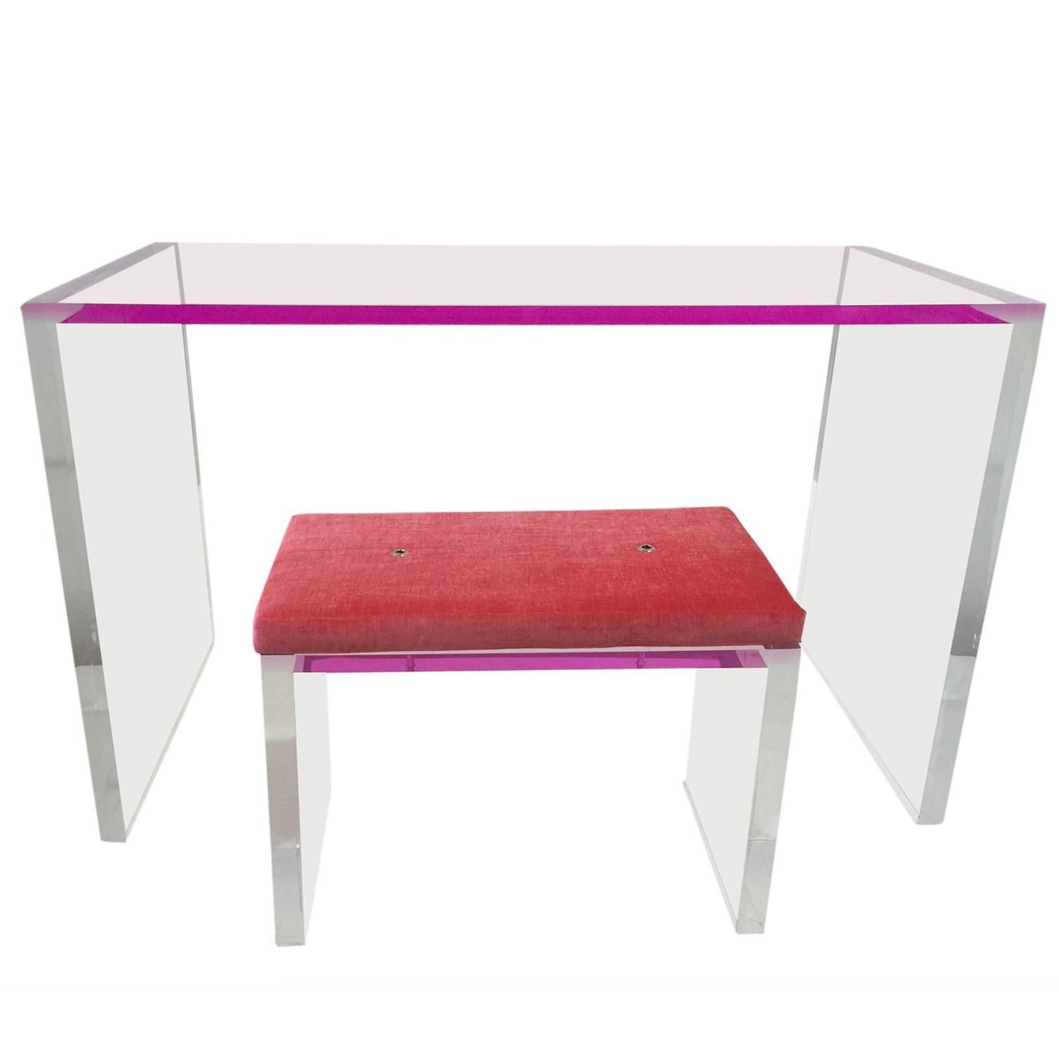Whimsical Pink And Clear Acrylic Desk And Bench From A Unique