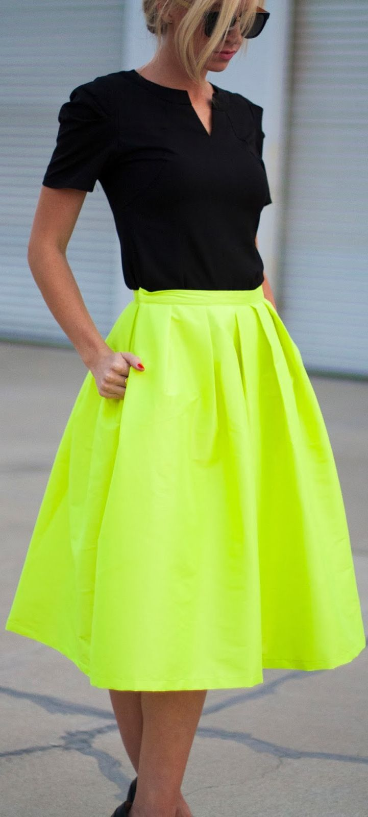 How to bright wear green skirt catalog photo