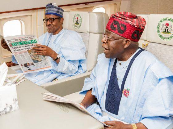 REKINDLED LOVE: Bola Tinubu Joins President Buhari In Presidential Jet To Cameroun For EU-AU Summit » CHIKERO