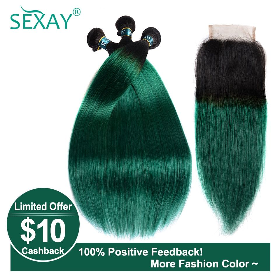 3/4 Bundles With Closure Ombre Bundles With Closure 3 Bundles With Closure T1b/ Green Dark Roots Turquoise Silk Straight Human Hair