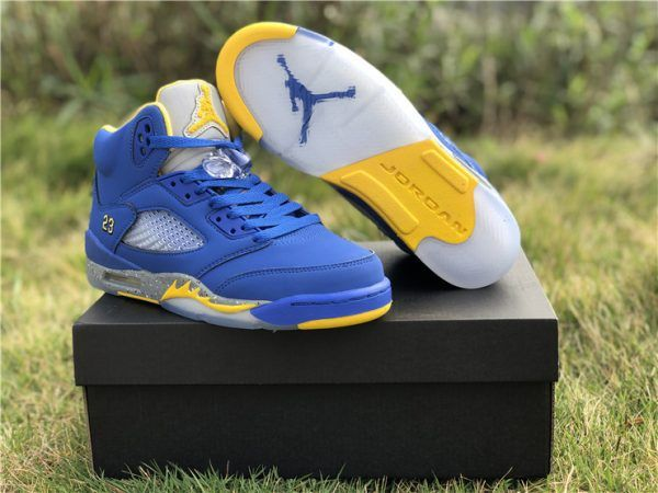 f6becab715d5 2019 New Air Jordan 5 Retro GS Blue Yellow Girls Shoes in 2019