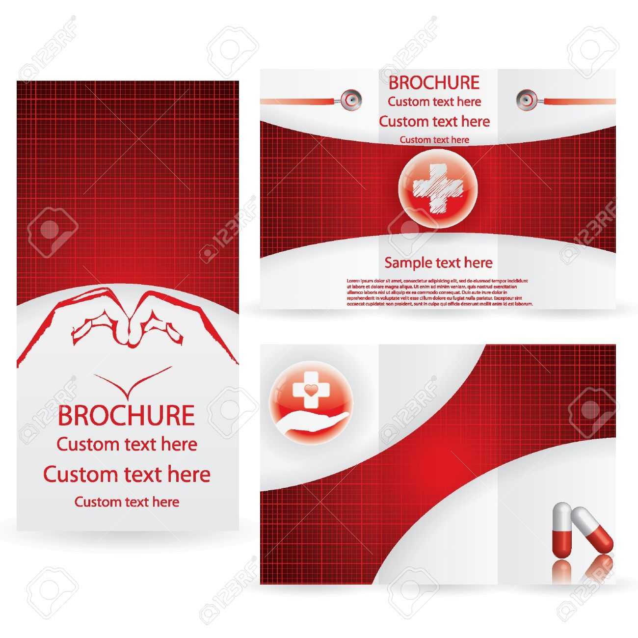 Vector Brochure Layout Design Template Red Medical Royalty Free  Medical Brochures Templates