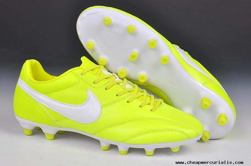 Cheap fluorescent yellowwhite nike the premier fg cleats