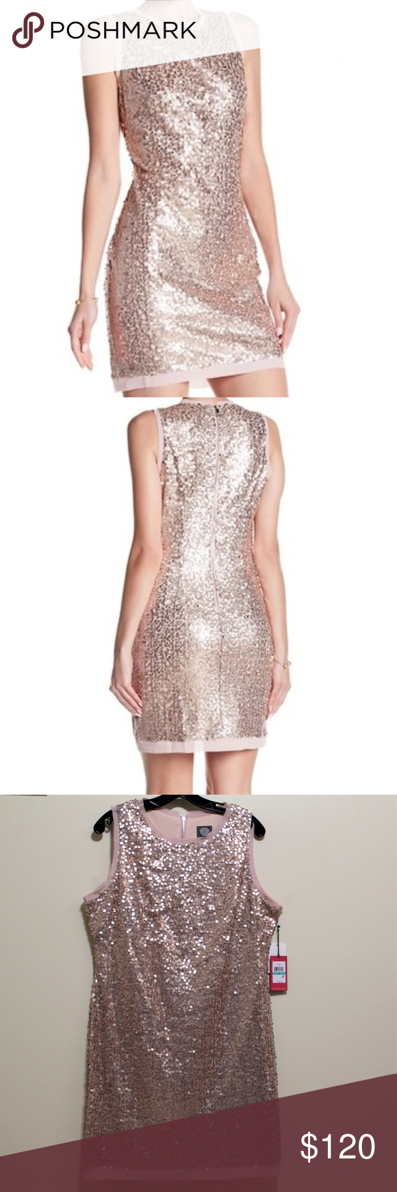 Nwt Vince Camuto Sequin Blush Pink Dress Size 16 This Brand New With Tags Rose Gold Blush Pink Vince Camuto Sequin Blush Pink Dresses Dresses Size 16 Dresses [ 1740 x 580 Pixel ]