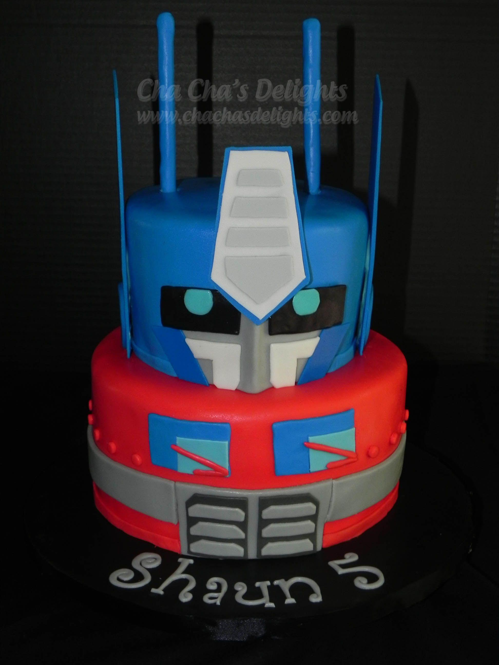Optimus Prime Transformer Cake Vanilla Cake Wchocolate Filling