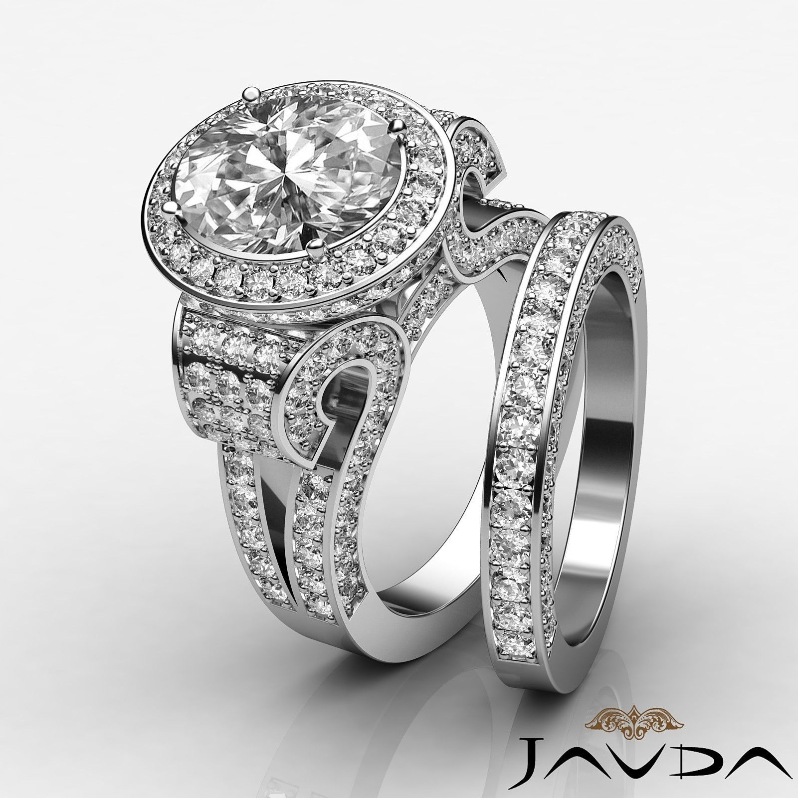 Oval Diamond Vintage Engagement GIA F VS2 14k White Gold Bridal Set Ring 4 8 Ct | eBay