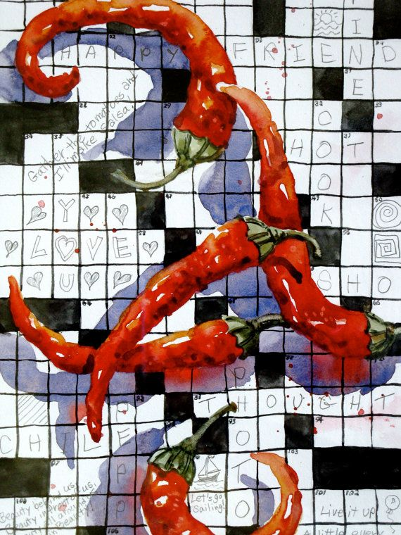 Original Watercolor Painting Red Pepper Crossword By Heartsease2