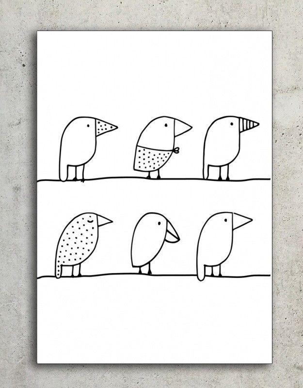 Pin Van Irma Dekker Op Baby Eenvoudige Tekeningen Vogels