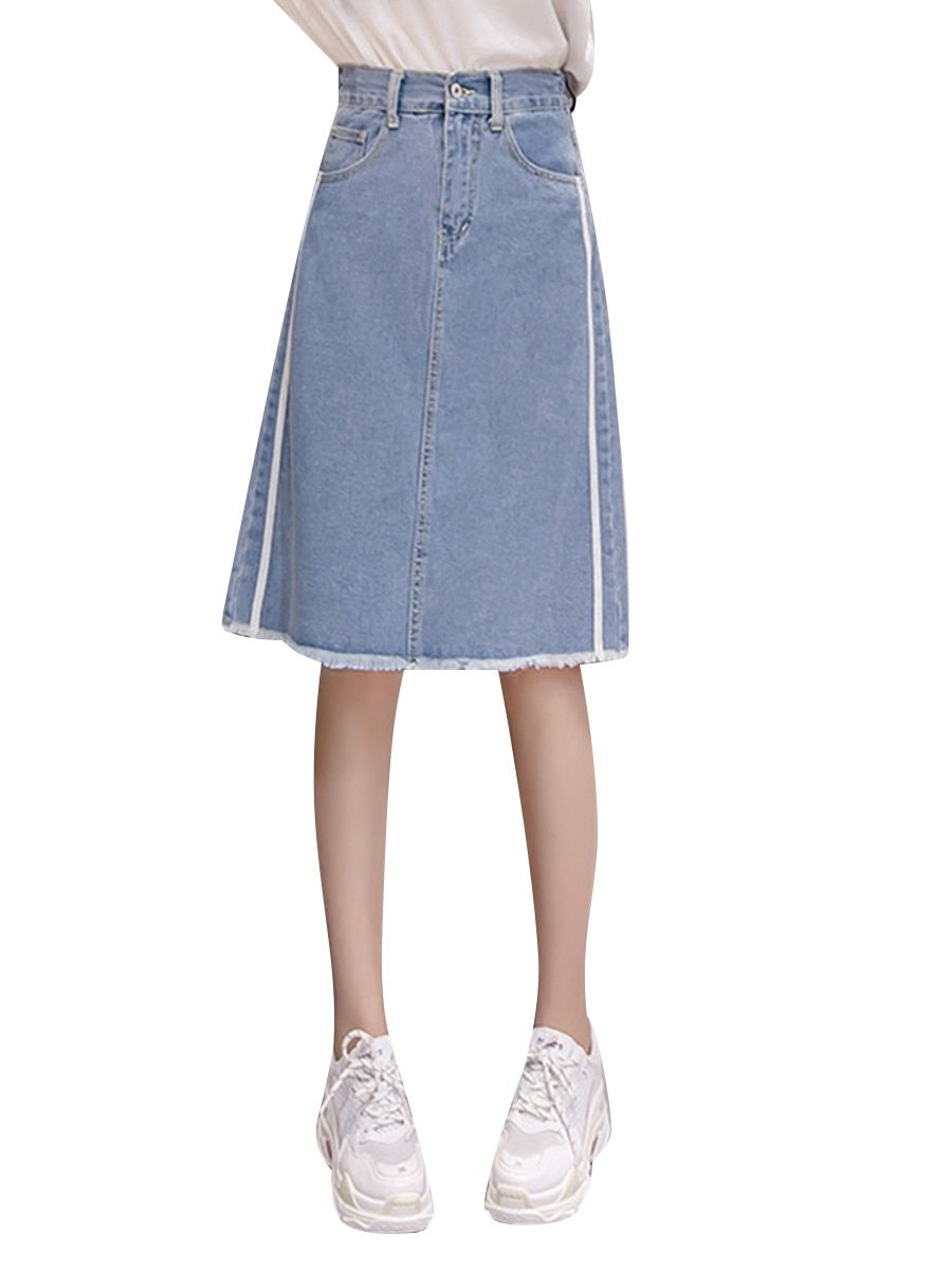a54b5a90a7a Buy Women s Plus Size Denim Skirt High Waist Solid Color Midi Aline Skirt   Women s  Skirts - at Jolly Chic