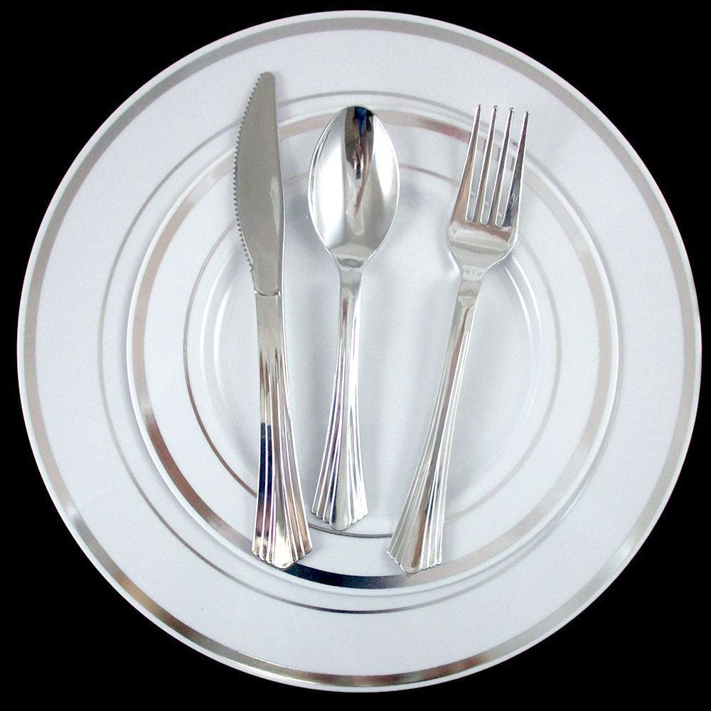 30 People Dinner Wedding Party Disposable Plastic Plates