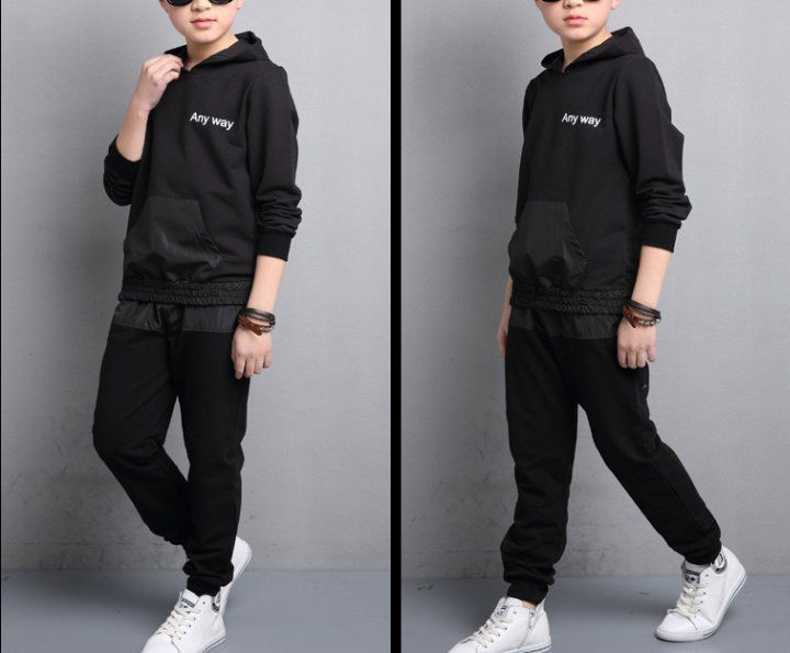CH08090 Letters hooded hoodie boy spring kids a set