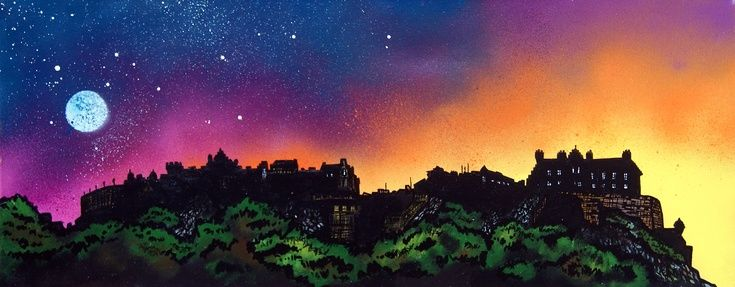 ARTFINDER: Edinburgh Castle Dusk, Scotland. A li... by Andrew Peutherer - A Fine Art High definition Giclee print of an original abstract, atmospheric cityscape painting of Edinburgh Castle at Sunset, Scotland. A dramatic mix of m...