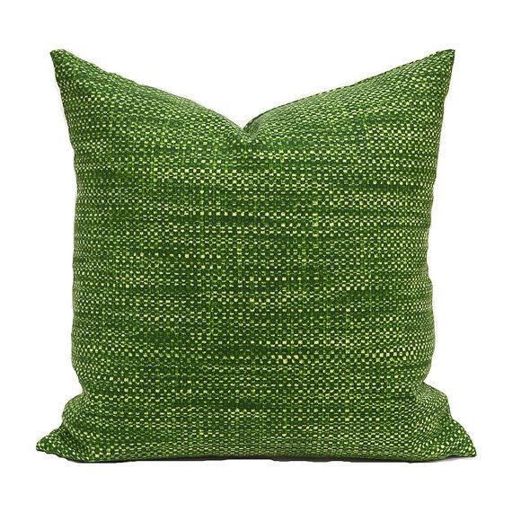 Outdoor Pillow Covers ANY SIZE Decorative Home Decor Green Textured Look Designer Throw Pillow Covers Richloom OD Remi Palm