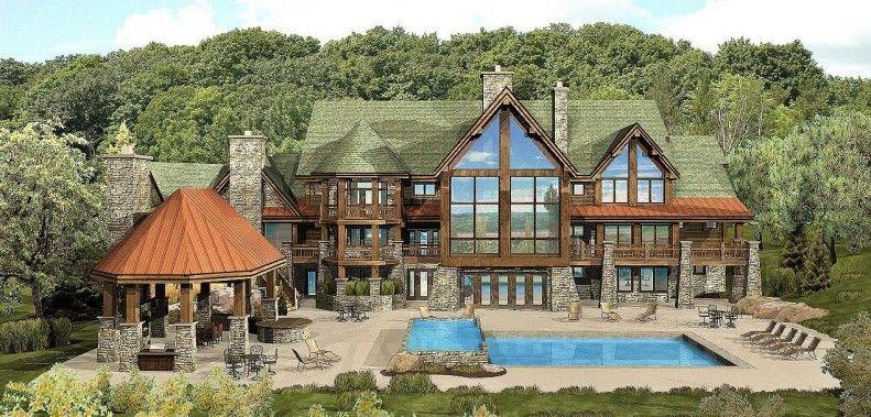 Luxury Log Cabin Floor Plans | Log-Home-Plans-Kensington-Lodge-Log ...