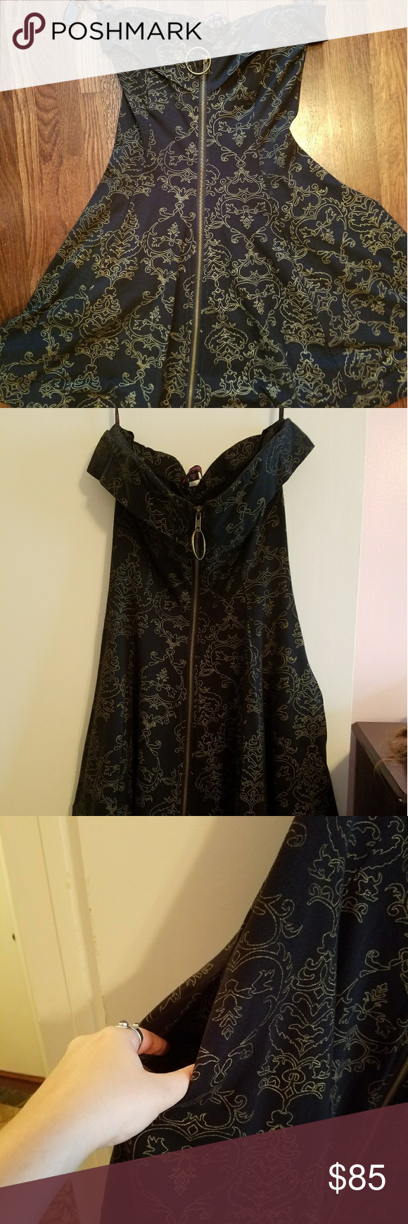 Betsey Johnson Strapless Fit and Flare Classic Betsey fit and flare! Black and gold filigree design, front zipper and POCKETS!  Stretchy and flattering very fun dress! Betsey Johnson Dresses