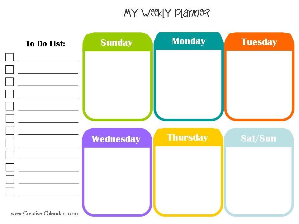 Free Printable Weekly Planner Meal Planner Printable Weekly