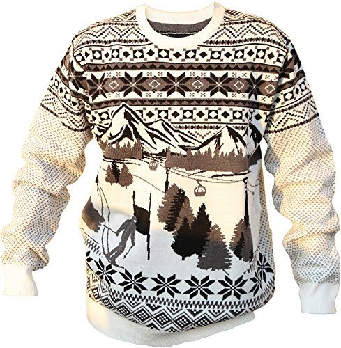 Shineflow Mens Grew Neck Ski Resort Christmas Knitted Jumper Sweater Pullover >>> Details can be found by clicking on the image.