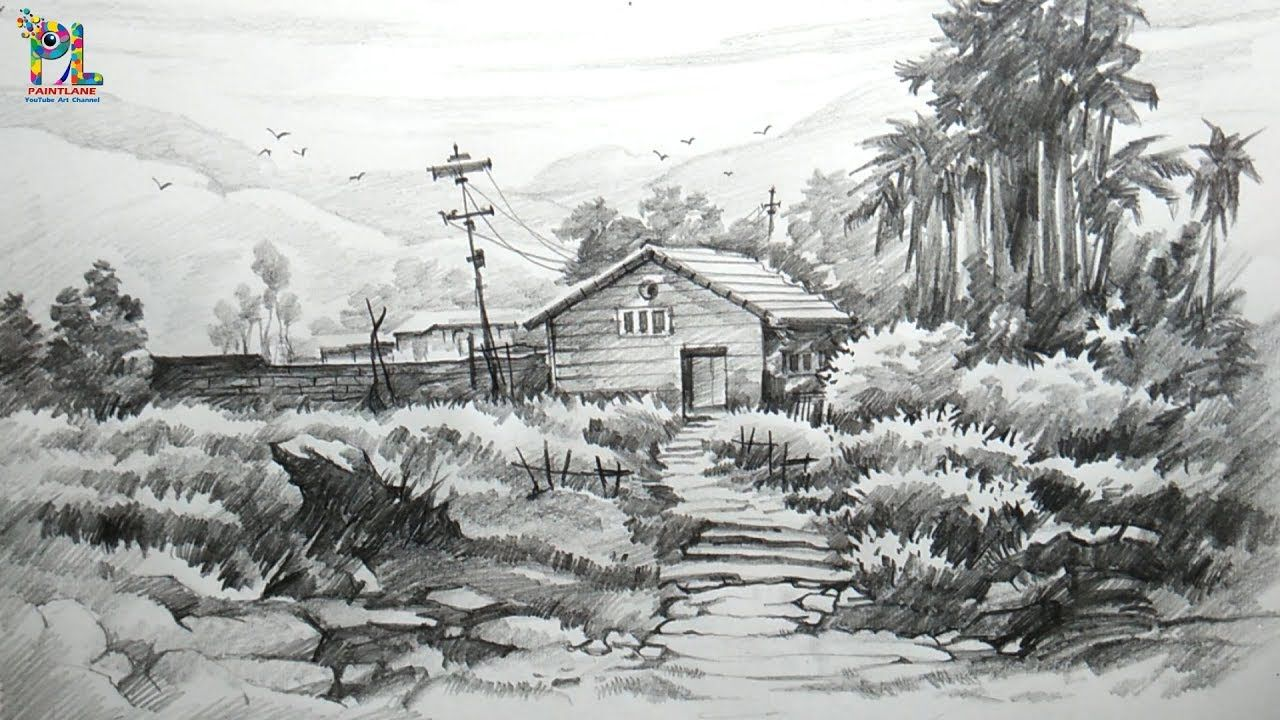 Easy Landscape Drawing And Shading Pencil Shading Landscapes With Images Landscape Drawings Landscape Sketch Landscape Drawing Easy