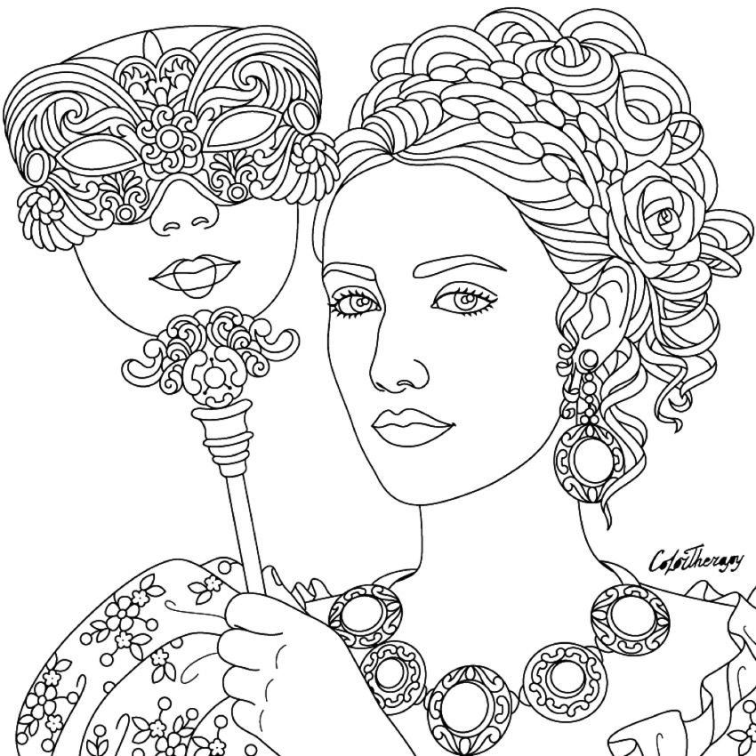 Masquerade coloring page | Beautiful Women Coloring Pages for Adults ...