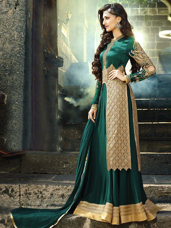 1ceb1ece39 Georgette green semi stitch Pakistani anarkali salwar suit | G3-WSS8102