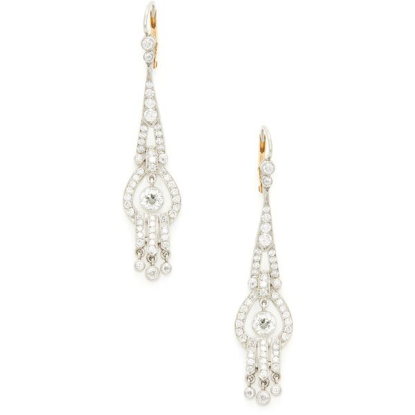 Estate Fine Jewelry Women's Estate Platinum, 18K Yellow Gold & 3.00... (107 610 UAH) ❤ liked on Polyvore featuring jewelry, earrings, no color, diamond drop earrings, drop earrings, gold drop earrings, chandelier earrings and gold earrings