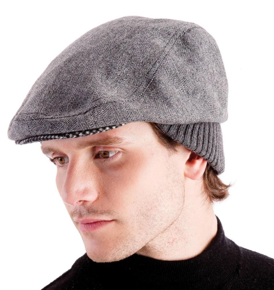 8dc151a4811 Mens Peak Cap Winter Hat Flat Cap Classic Warm Formal Soft Hats ...
