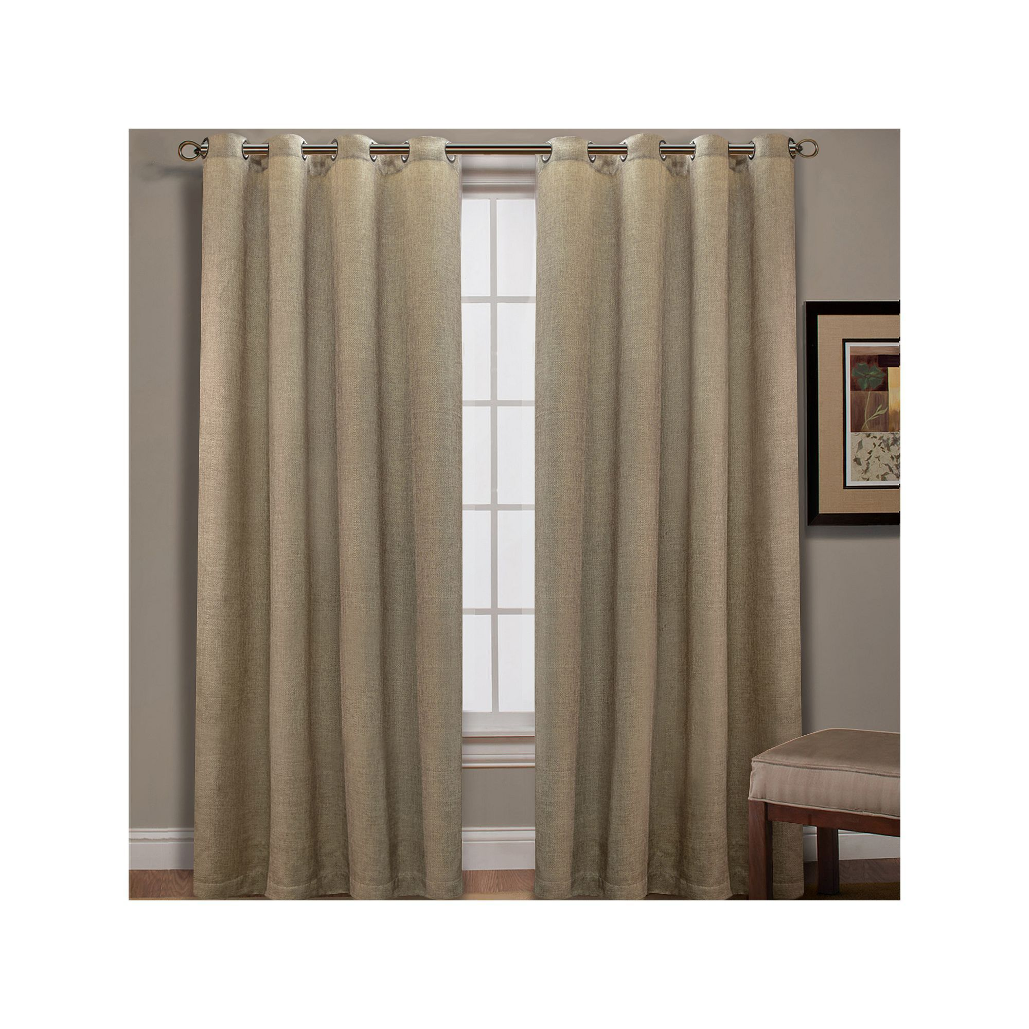 Spencer Home Decor Mika Basketweave Curtain White