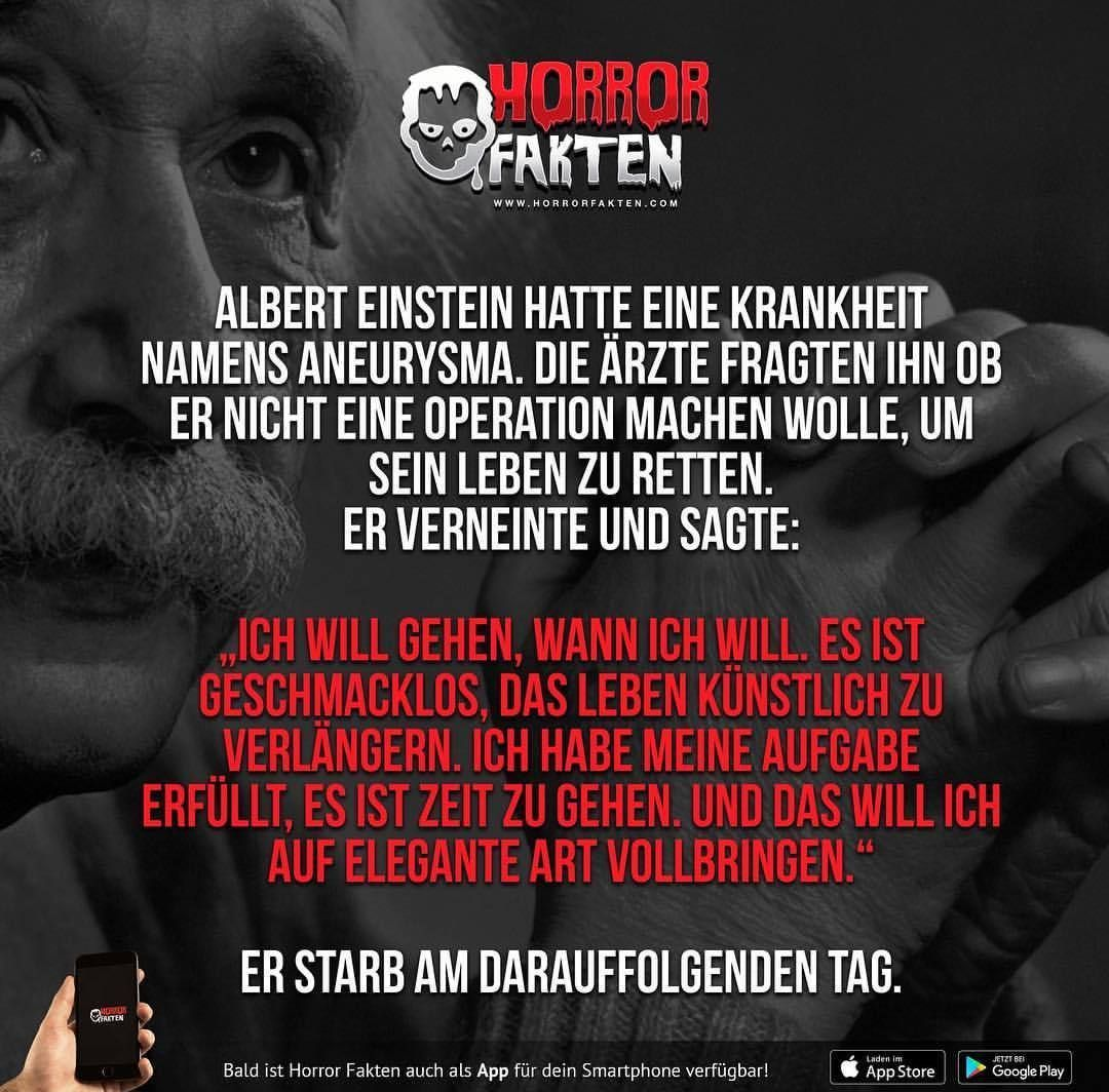 Horror Fakten Albert Einstein Horrorfakten Creepy Facts Psychology Facts Funny Horror