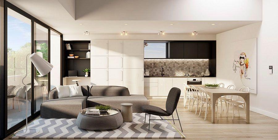 arredare un open space cucina soggiorno moderno 06 | interior ... - Come Arredare Un Soggiorno Cucina