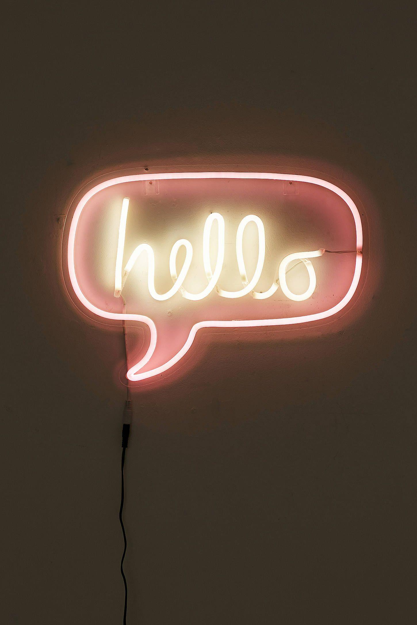 Hello Neon Sign Neon signs, Neon, Neon words