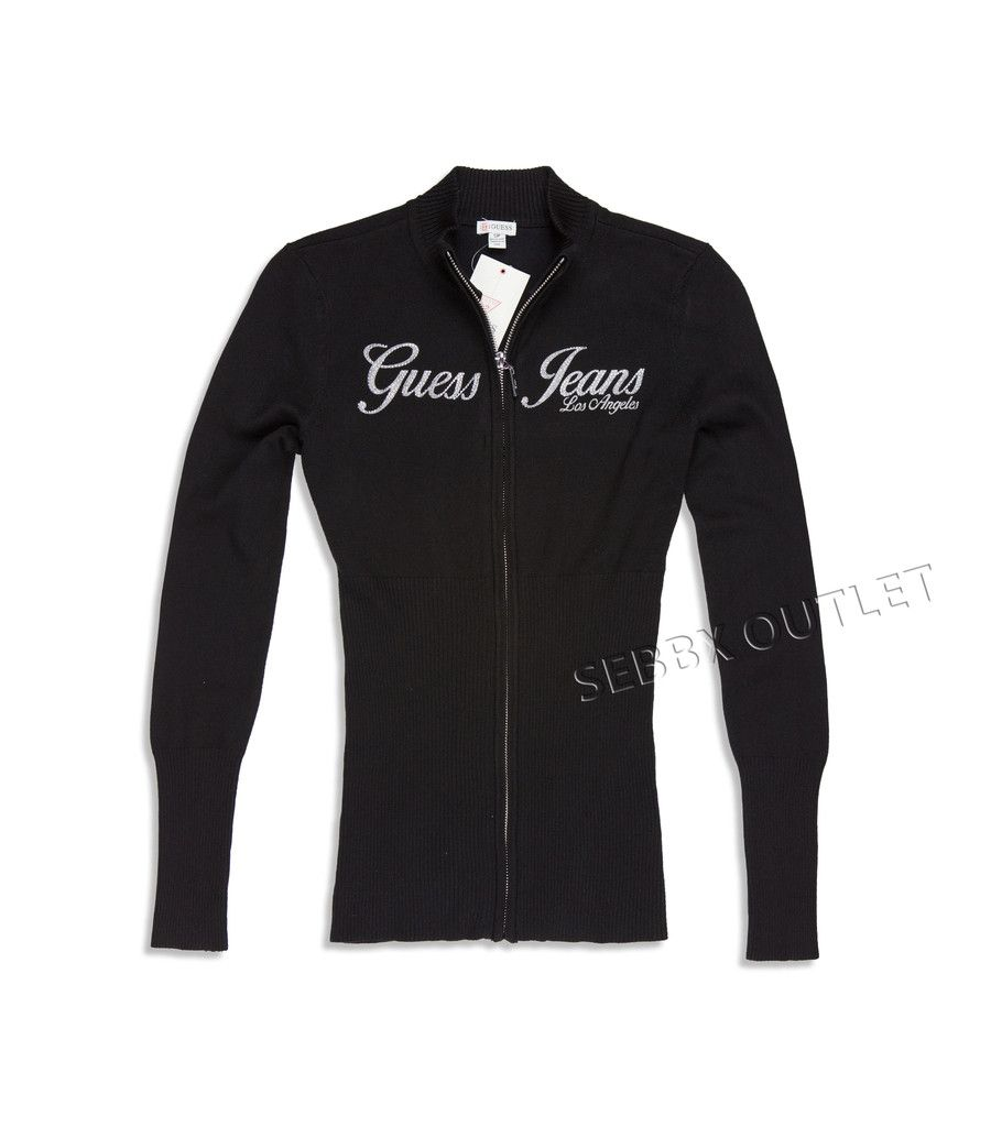 GUESS Sweater Long Sleeve Full Zip Gavi Black & Silver