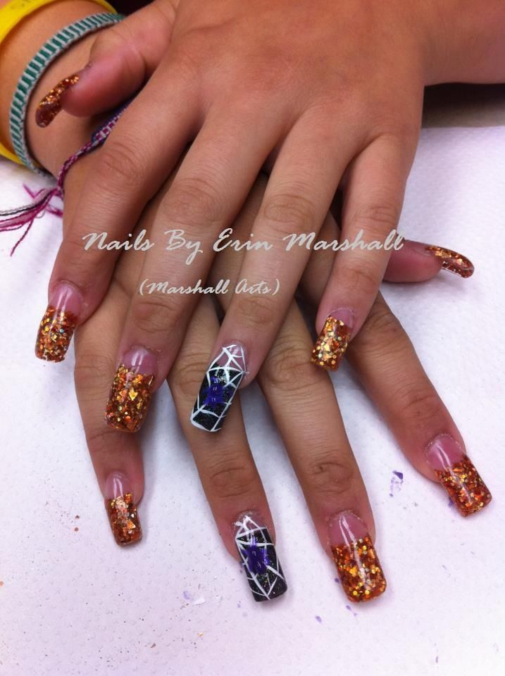 Halloween acrylic nails with 3d spider nail art ...