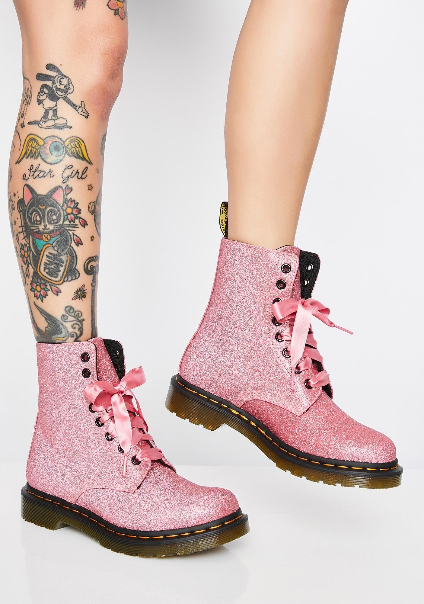 1460 Pascal Pink Glitter Boots Glitter Boots Dr Martens Doc Martens