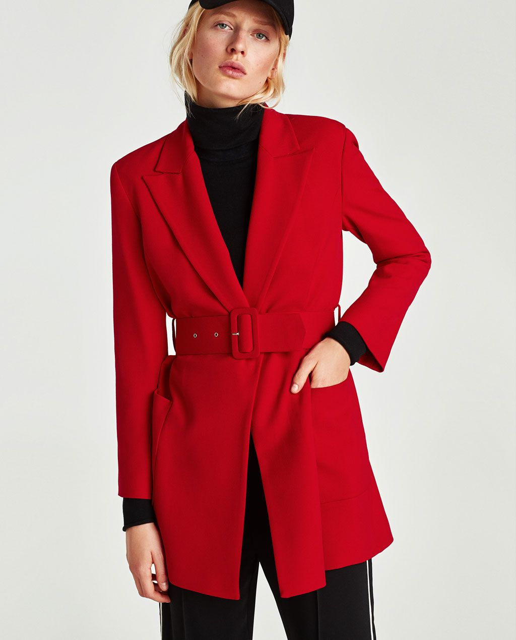 Image 2 of FROCK COAT WITH WIDE BELT from Zara | Veste