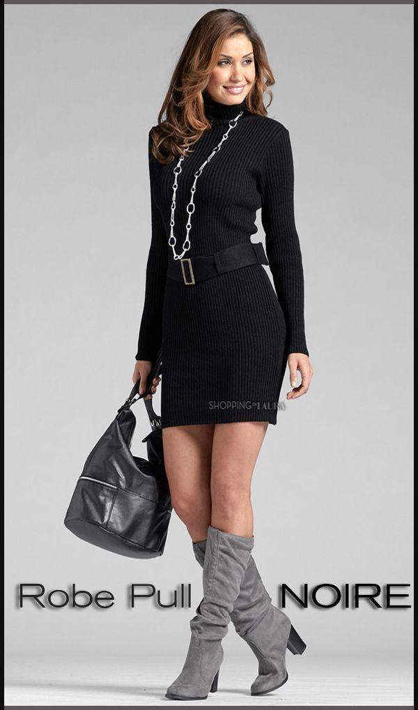 qualité parfaite style à la mode Pré-commander Robe pull noire col roulé | Robe courte femme | Pinterest ...