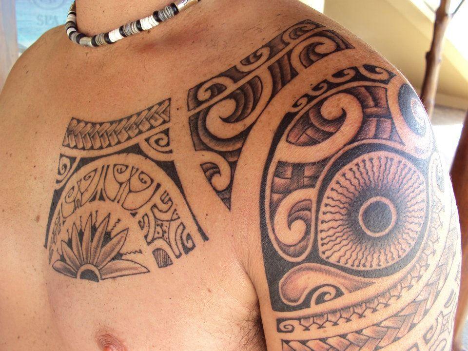 Tattoo on Chest & Shoulder For Men of Polynesians Tiki's Eye & Symbols by Mata