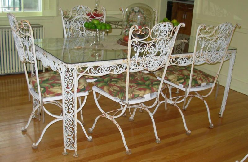 Woodard Wrought Iron Dining Set In The Andalusian Pattern, Consisting Of 1  Arm U0026 5 Side Chairs Part 71
