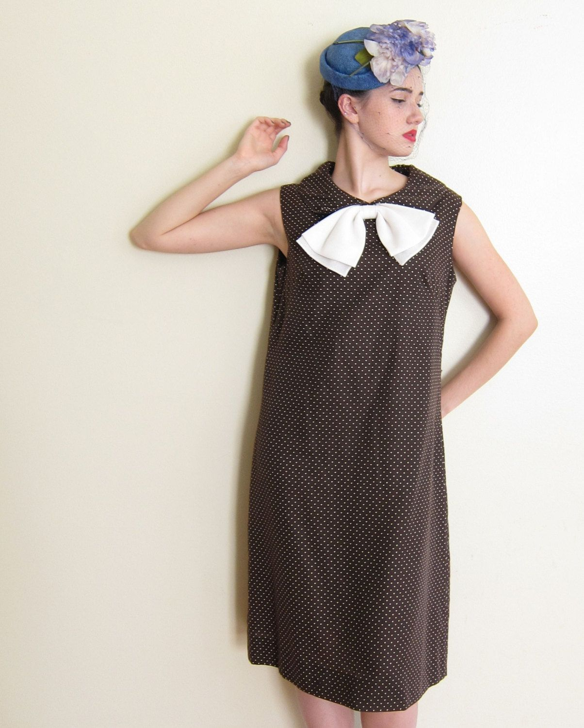 Vintage 1960s Polkadot Day Dress / 60s Shift in Brown and Cream / XL by BasyaBerkman on Etsy