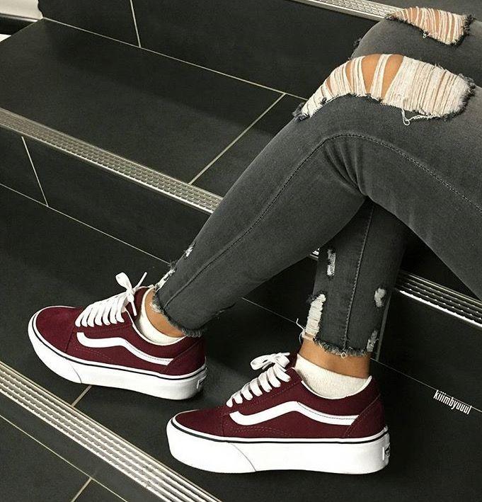 Burgundy Vans - Hipster Vans - Skater