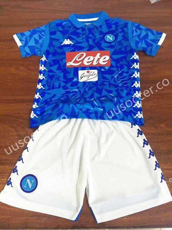 a7ce39466 uusoccer provide 2018 19 Napoli Home Blue Kids Youth Soccer Uniform ...