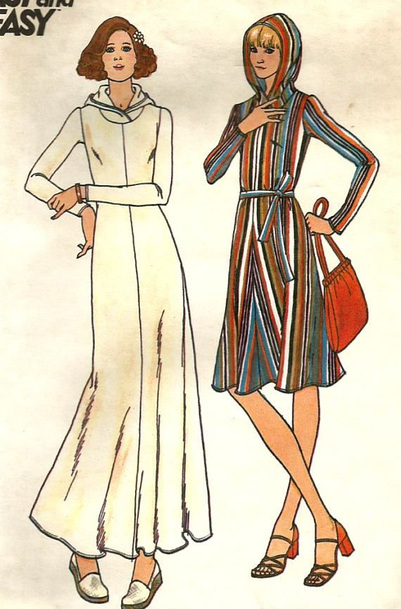 Vintage 70s Butterick 4005 Misses Hooded Caftan, Beach Coverup or ...