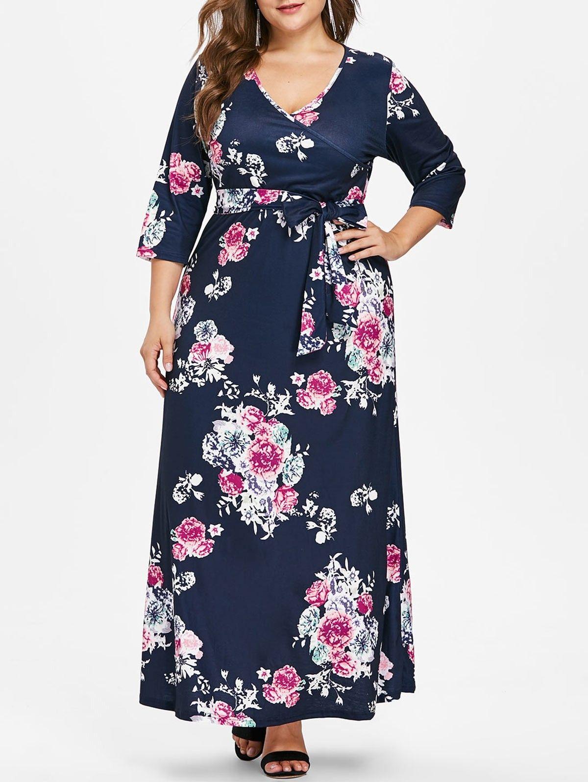 Plus Size Flower Print Floor Length Dress Cadetblue 3288830619 Size L Dresses Floor Length Dresses Designer Outfits Woman